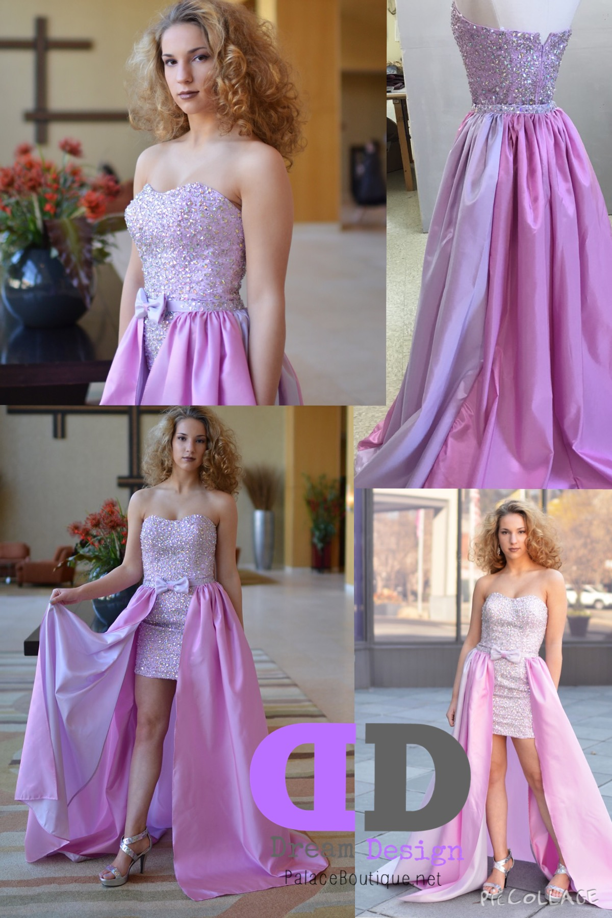 Lilac short beaded dress with removable skirt